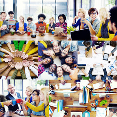 Casual Business People Working Together Team Interaction Concept