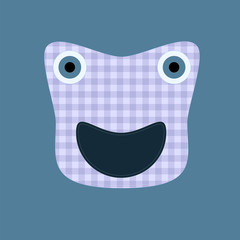 Cute kilted sewed on monster on blue background