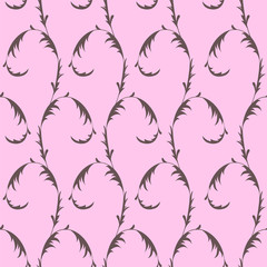 Seamless pattern with floral ornament on pink