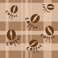 Quilt and coffe beans seamless pattern