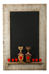 Vintage Valentines Love Cats Chalkboard Reclaimed Wood Frame Iso