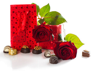 gift, chocolates and roses