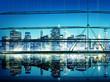 Obrazy na płótnie, fototapety, zdjęcia, fotoobrazy drukowane : Building Skyscraper Panoramic Night New York City Concept