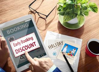 Summer Occasion Online Booking Digital Tablet Concept
