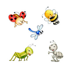 Set of five insects