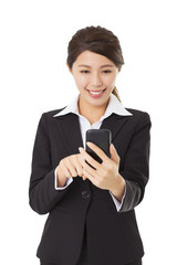 happy  businesswoman touching the smart  phone