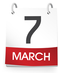Vector Of A Calendar Of The Date March 7th