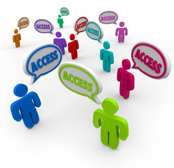 Access Word Speech Bubbles People Convenient Available Service