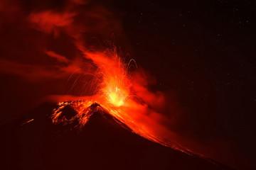 Tungurahua volcano explosion on february 2014 at night