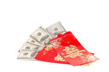 US Dollar bank notes in red develop,Chinese new year gift