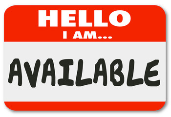 Hello I Am Available Name Tag Sticker Accessible Convenience Ser