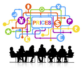 Group of Business Meeting Discussion Prices Vector Concept
