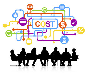 Group of Business People Meeting with Cost Concept