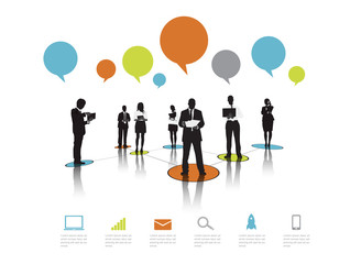 Silhouettes Business People Working Speech Bubble Concept