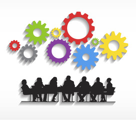 Silhouettes of Business People Meeting and Gears