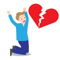 Sad man with broken heart shape background