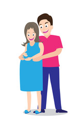 illustration of happy pregnant couple Vector