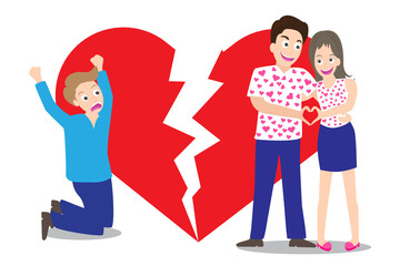 Sad man seeing love couple with broken heart shape background