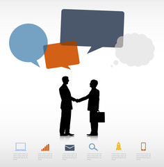 Two Businessmen Shaking Hands and Speech Bubbles
