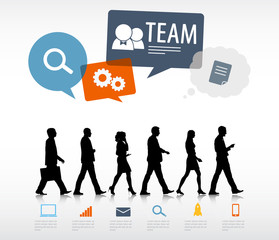 Group of Business People Walking with Speech Bubble Team Concept