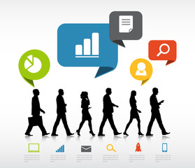 Group of Business People Walking with Speech Bubble
