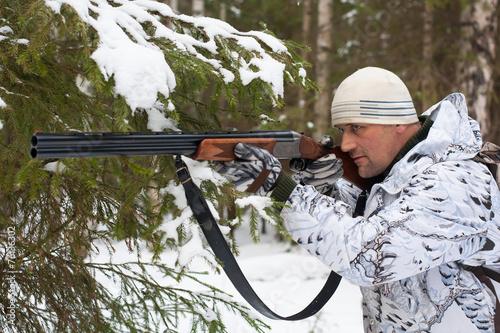 Plexiglas Jacht hunter on winter hunting
