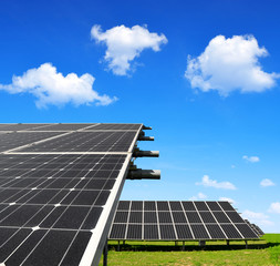 Solar energy panels against blue sky