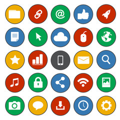 Vector of Flat Design Social Network Icons Technology Concept