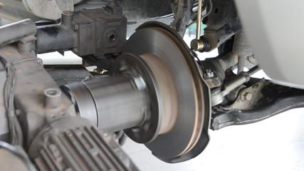Auto machine grinding the brakes car