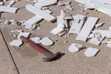 pile of broken damaged wood plank