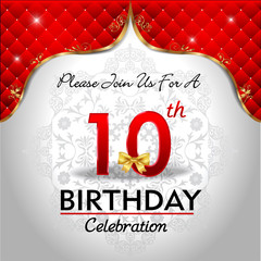 celebrating 10 years birthday, Golden red royal background