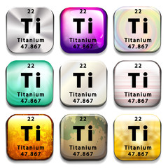 A periodic table button showing the Titanium
