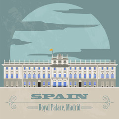 Spain landmarks. Retro styled image