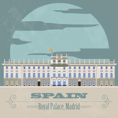 Spain landmarks. Retro styled image