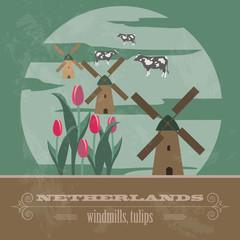 Netherlands landmarks. Retro styled image