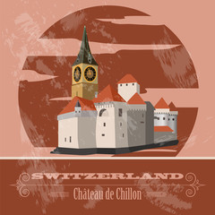 Switzerland landmarks. Retro styled image. Vector illustration