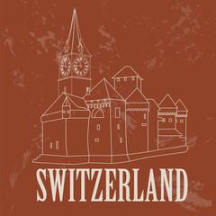 Switzerland landmarks. Retro styled image