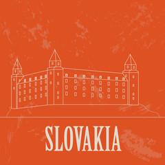 Slovakia landmarks. Retro styled image
