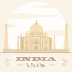 India landmarks. Retro styled image