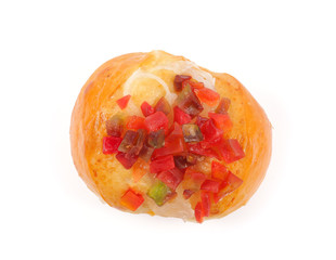 Bread with fruit salad