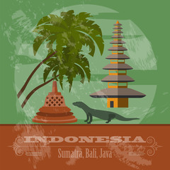Indonesia landmarks. Retro styled image
