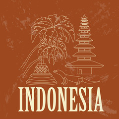 Indonesia landmarks. Retro styled image