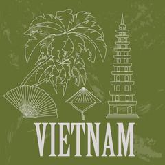 Vietnam landmarks. Retro styled image