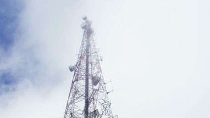 Time-lapse of cloud movement over the telecommunication pole