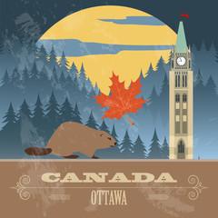 Canada landmarks. Retro styled image