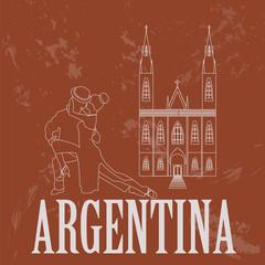 Argentina landmarks. Retro styled image