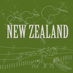 New Zealand landmarks. Retro styled image
