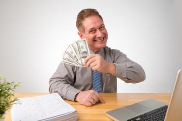 Businessman with dollar bills