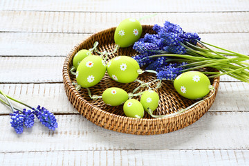 Easter garland and hyacinth on a tray