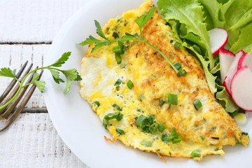 Omelette with radishes, onions and lettuce